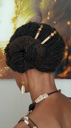 Beautiful locs in an elegant side bun with Lilla Rose hair sticks! Ethnic Hairstyles, Braided Hairstyles, Wedding Hairstyles, Hair Websites, Natural Hair Styles, Short Hair Styles, Locs Styles, Classy Updo, Braids For Black Hair