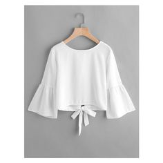 Flute Sleeve Open Back Bow Tie Blouse ($11) ❤ liked on Polyvore featuring tops and blouses