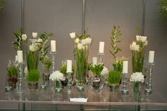 White and green flower arrangements