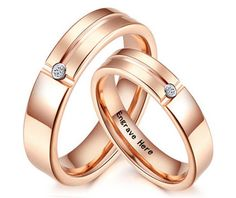 Rose Gold Tone Matching Tungsten Carbide Wedding Rings with Cubic Zirconia Diamond for Men and Women