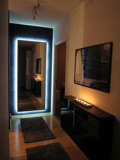 Materials: IKEA Hovet mirror, self-adhesive LED cable with power supply, J-shaped aluminum molding bar Description: To get some cool vibes out of my Hovet mirror placed at the very end of a narrow hallway, I decided to play a little bit with LED lightning