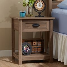Found it at Wayfair - Robin 1 Drawer Nightstand Bedroom Furniture, Home Furniture, 3 Drawer Nightstand, Nightstands, Nightstand Ideas, End Tables With Storage, Oak Color, Panel Bed, Open Shelving