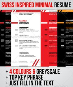 Resumecv swiss swiss style indesign templates and template yelopaper Gallery