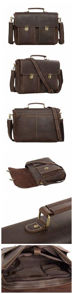 ROCKCOW Vintage Genuine Cowhide Leather Messenger Bag Laptop Bag Shoulder Bag Briefcase