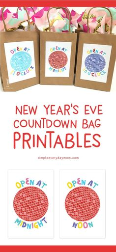new years eve countdown ideas for kids | Countdown the new year  (or noon year) with your kids by using these countdown bag printables. #printables #newyears