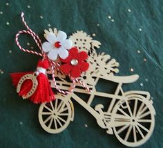 Martenitsa with Horseshoe on a Bike (Magnet) Baba Marta, 8 Martie, Rose Oil, Folk Art, Arts And Crafts, Wreaths, Christmas Ornaments, Bulgaria, Holiday Decor