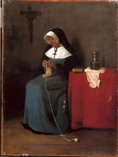 François Bonvin - Religieuse Tricotant- Really, all you need to become a good knitter are wool, needles, hands, and slightly below-average intelligence. Of course, superior intelligence, such as yours and mine, is an advantage. ~Elizabeth Zimmerman