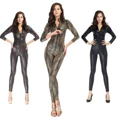 Black/Gray/Gold Fashion Sexy Women Snakeskin Catsuit With Zipper Costume Faux Leather Jumpsuit Superwomen Cosplay Latex Bodysuit #Affiliate
