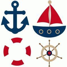 Silhouette Design Store - View Design #44820: sailor lifesaver steering wheel anchor boat