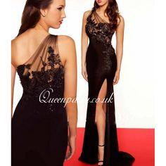 Black Sheer One Shoulder Long Evening Gown