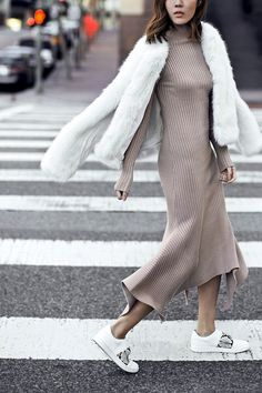 Photos via: Tsangtastic We were already a fan of this ribbed knit dress, but it's great to see how Jenny Tsang gives it an (elevated) sporty-chic twist by pairing it with a white fur coat and Vince sn