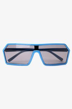 Futuristic Angular Mono Lens Sunglasses - Blue - 1088-1