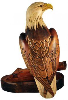 Hersey Kyle Jr Woodcarving Wood Carved Eagle RARE Large Bird | eBay