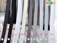 1. Charcoal 2. Black 3. White 4. Antique White 5. Metal Grey 6. Silver 7. Shell Grey 8. Light Silver 9. Off White