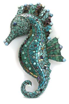 Hand Made Red /& Blue Mosaic Seahorse Wall Hanging 40cm x 10cm