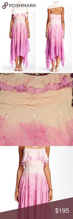 Free people diaphanous damsel party silk dress Dip-dyed silk chiffon party dress…