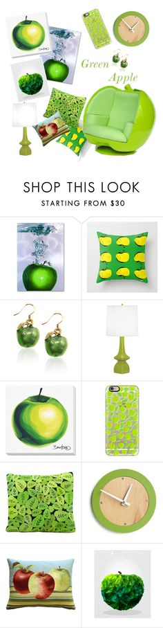 """""""Green Apple"""" by ogwert ❤ liked on Polyvore featuring interior, interiors, interior design, home, home decor, interior decorating, Robert Abbey, Grandin Road, Casetify and Mina Victory"""