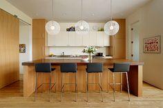 Douglas Fir and White Laminate Kitchen Cabinets