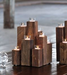 Rustic and geometric wood create a unique candelabra