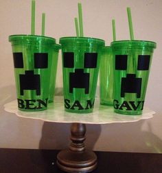 10 Minecraft Creepers Party Favors Personalized Cups-16-oz. Double-Wall Plastic Tumblers with Screw-On Lids and Plastic Straws $35.00