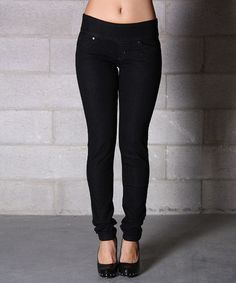 Another great find on #zulily! Black Denim Pull-On Skinny Jeans by Lola Jeans #zulilyfinds
