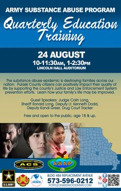 Aug 24: ASAP Quarterly Education Training @ ACS! For more information call 573-596-0212