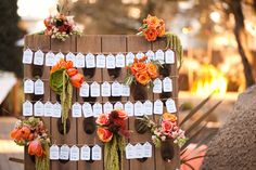 sonoma valley wedding, riddling rack, bouquets, place card display