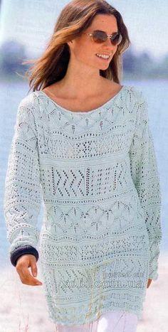 светло-голубой длинный узорчатый пуловер