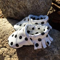 Black and White Polka Dot Leather Moccasins