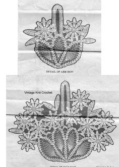 Vintage Crochet Chair Doily Pattern, Daisies in Pineapple Basket, Alice Brooks mail order design available at Vintage Knit Crochet Pattern Shop. Crochet Vintage, Crochet Daisy, Thread Crochet, Vintage Knitting, Crochet Hooks, Knit Crochet, Doily Patterns, Crochet Patterns, Buffet Set