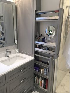 Great option for makeup storage in bathroom cabinetry! Great option for makeup storage in bathroom cabinetry! Bathroom Cabinetry, Bathroom Renos, Bathroom Cabinet Storage, Bathroom Makeup Storage, Bathroom Mirrors, Bathroom With Makeup Vanity, Wood Bathroom, Restroom Cabinets, Master Bathroom Vanity
