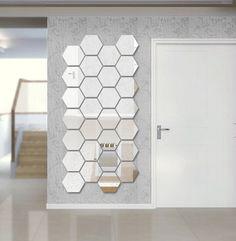Hexagon Shape Mirror Wall Decal Wall Sticker