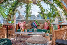 """Coppa Club's famous Thames-side igloos have had a brightly hued makeover for summer into bohemian-themed, palm-adorned """"paradise pods"""" served by an outside beach bar.   3 Three Quays Walk, Lower Thames Street, EC3R 6AH"""