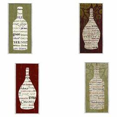 """Wine-inspired wall decor with a typographic motif. Made in the USA.   Product: 4-Piece wall decor setConstruction Material: Engineered woodFeatures:  Hand-painted edgesReady to hangMade in the USA Dimensions: 17"""" H x 7"""" W each"""