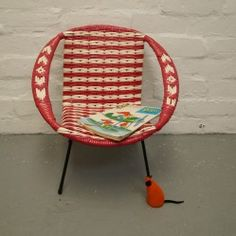 Childs vintage bucket chair in red and white vintageactually.co.uk