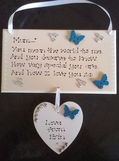 Personalised Mum Nan Sister Aunt You mean the world Poem Mothers Day Gift Plaque
