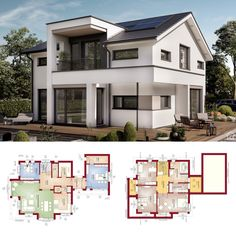"House Plans Modern Contemporary European Style Architecture Design Floor Plan ""CONCEPT-M 166 Erfurt"" - Dream Home Ideas with 2 Story & Open Concept with 5 Bedroom and Gable Roof Layout by Bien Zenker - Arquitectura moderna casas planos - HausbauDirekt. Model House Plan, Dream House Plans, House Floor Plans, Bungalow House Design, Modern House Design, Modern Architecture Design, Prefabricated Houses, Sims House, Home Design Plans"