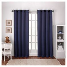 "Woven Blackout Curtain Panel Set Navy (Blue) (52""x108"") - Exclusive Home"