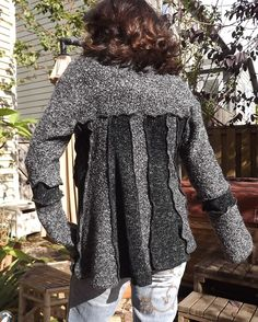 Patchwork recycled sweater coat