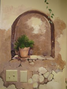 Stone wall niche Faux Painting, Mural Painting, Paintings, Garden Mural, Mural Wall Art, Ceiling Murals, Painted Doors, Picture Design, Painting Techniques