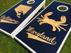 Maryland Crab Baltimore Custom Cornhole Board Sets by WGCornhole on Etsy https://www.etsy.com/listing/237502155/maryland-crab-baltimore-custom-cornhole