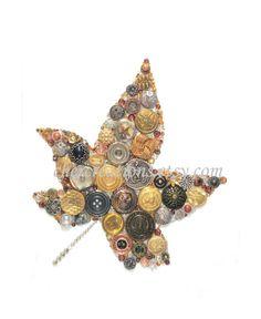 Button Art PRINT 5x7 of orginial Button Artwork, diy, leaves, fall art, gold…