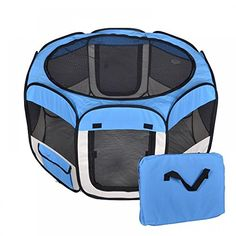 Pet Dog Cat Tent Playpen Exercise Play Pen Soft Crate Small Blue NEW by Julia * More info could be found at the image url.
