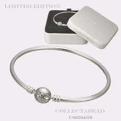 "Authentic Pandora Sterling Silver Dainty Bow Bangle Gift Set 7.5"" USB794319 #Pandora"