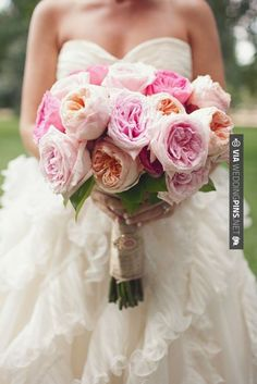 Like this! - girly pink bridal bouquet | CHECK OUT MORE GREAT PINK WEDDING IDEAS AT WEDDINGPINS.NET | #weddings #wedding #pink #pinkwedding #thecolorpink #events #forweddings #ilovepink #purple #fire #bright #hot #love #romance #valentines #pinky