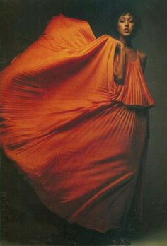 Pat Cleveland wearing a dress by Halston, 1970s.