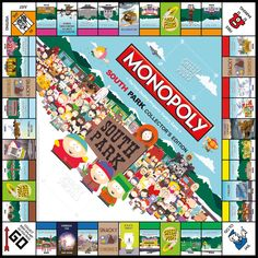 """South Park Collector's Edition Monopoly game board. Can you buy, sell and """"Rochambeau"""" your way to victory? Grab your Super Best Friends and see who has what it takes to rule South Park!    Buy now! http://www.amazon.com/Monopoly-South-Park-Collectors-Edition/dp/B007ZM9I1I/ref=sr_1_1?s=toys-and-games=UTF8=1349382774=1-1=south+park+MONOPOLY  Want more info? http://www.usaopoly.com/games/monopoly-south-park-collectors-edition"""