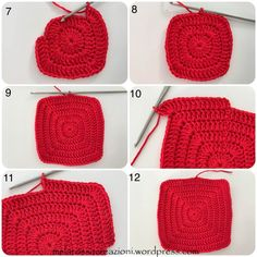 Round in the magic ring start 3 chains and 19 dc, close the round with a slst in the third initial chain (picture Crochet Potholder Patterns, Easy Crochet Stitches, Crochet Snowflake Pattern, Crochet Square Patterns, Christmas Crochet Patterns, Crochet Dishcloths, Crochet Snowflakes, Crochet Squares, Potholders