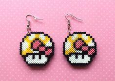 Super Mario Power-Up Mushroom 8-bit pixel bead earrings made from Perler beads/Hama beads/mini Hama beads by: 8BitEarrings on Etsy