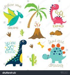 Cute vector dinosaurs isolated on white background. Dinosaur footprint, Volcano, Palm tree, Stones, Bone and Cactus. Dinosaur Images, Cartoon Dinosaur, Dinosaur Art, Cute Dinosaur, Animals Vector, Cartoon Sea Animals, Cute Vector, Dinosaur Tattoos, Office Birthday